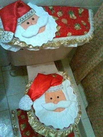 como hacer tapetes para baño para navidad