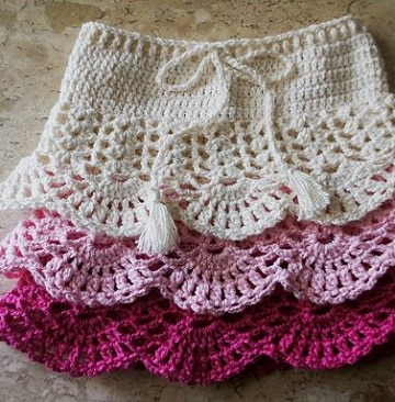 faldas tejidas a crochet para niña una aguja