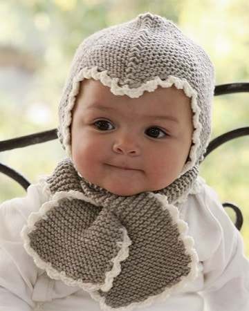 gorritos de bebe de punto con bufanda