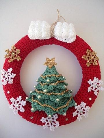 manualidades tejidos a crochet para navidad corona