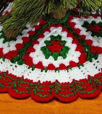manualidades tejidos a crochet para navidad manta para el arbol