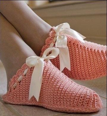 pantuflas tejidas a crochet para mujer comodas