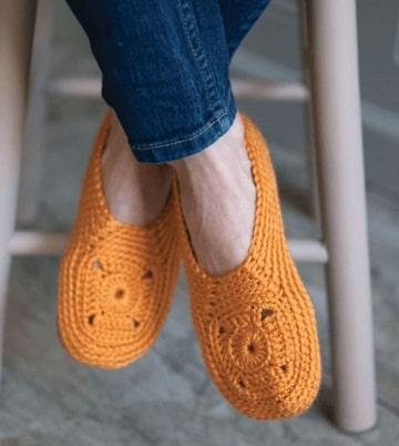 pantuflas tejidas a crochet para mujer puntos