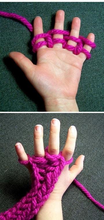 puntos para tejer bufandas con los dedos