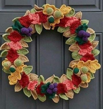 tejidos navideños a crochet corona