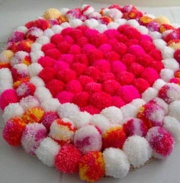alfombras de pompones infantiles para niñas