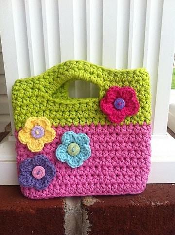 bolsas tejidas para niña con flores