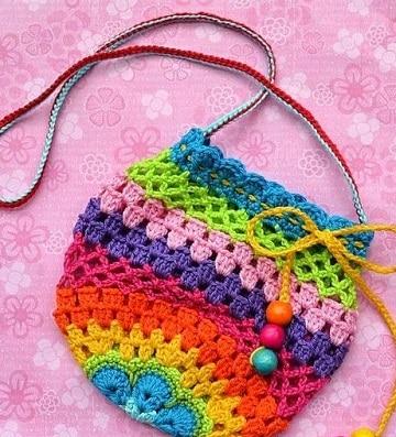 bolsas tejidas para niña de colores