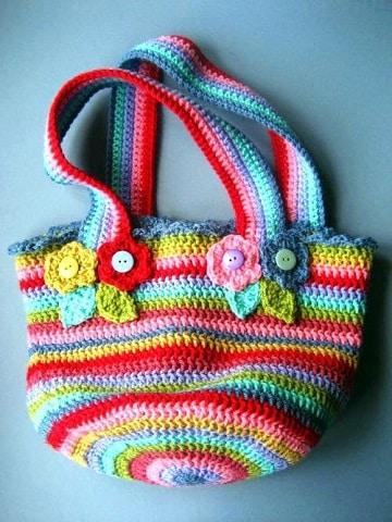 bolsos tejidos a crochet para niña de colores