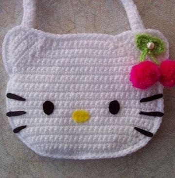 bolsos tejidos a crochet para niña hello kitty
