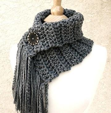 bufandas de ganchillo para mujer con boton