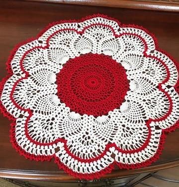 carpetas navideñas en crochet rojo y blanco