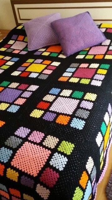 colchas de ganchillo de lana de colores para cama matrimonial