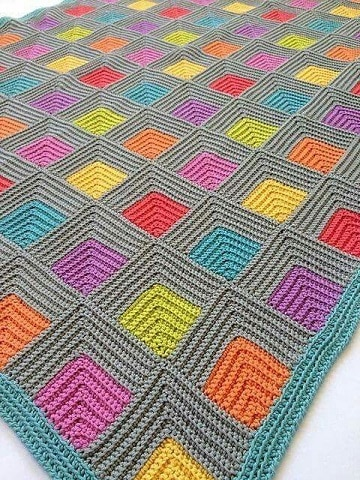 colchas de ganchillo de lana de colores punadas