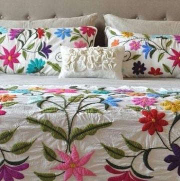 colchas para camas de matrimonio bordados
