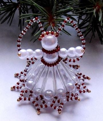 como hacer angeles de navidad con perlas