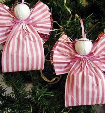 como hacer angeles de navidad de cinta de papel