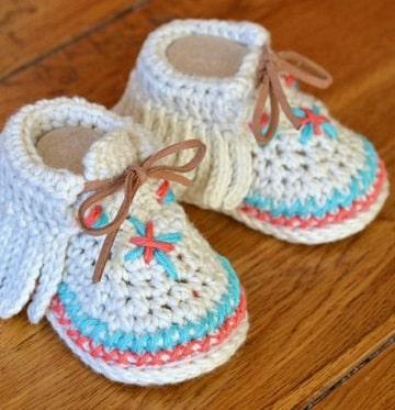como hacer zapatitos de lana mocasines