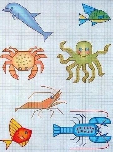 dibujos en cuadricula de animales de mar
