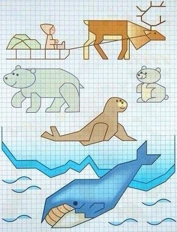 dibujos en cuadricula de animales grandes
