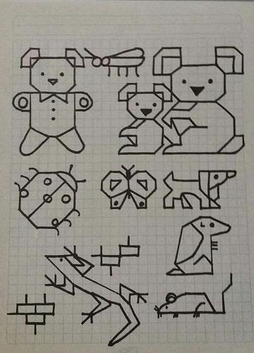 dibujos en cuadricula de animales ideas
