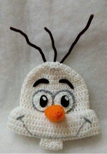gorros navideños tejidos hombre de nieve