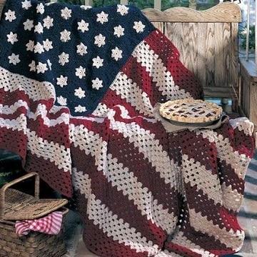 mantas de ganchillo para sofas bandera