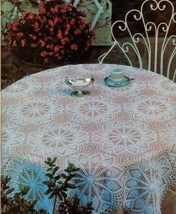 manteles navideños a crochet para mesa redonda