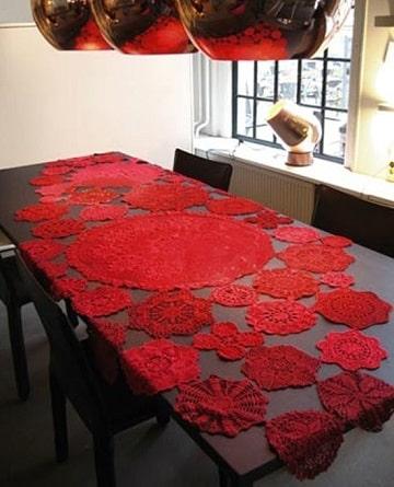 manteles navideños a crochet rojo