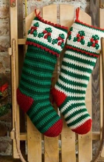 motivos navideños a crochet calcetines