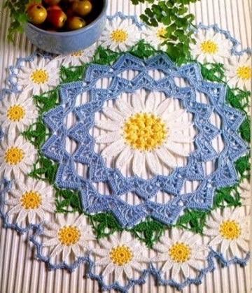 tapetes de ganchillo redondos flores