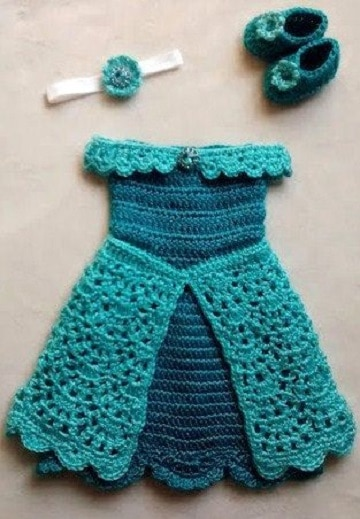 vestidos de ganchillo para bebes princesa