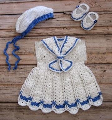 vestidos de nena a crochet marinera