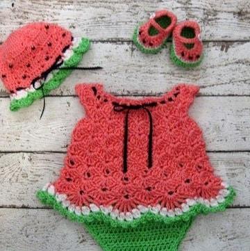 vestidos tejidos para niña recien nacida de frutas