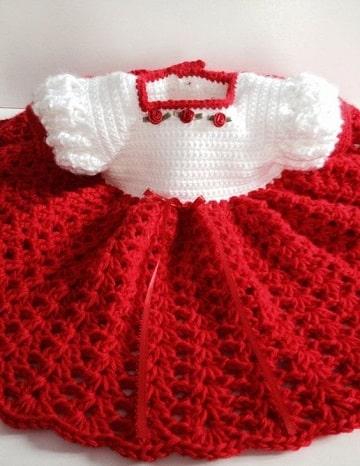 vestidos tejidos para niña recien nacida grande