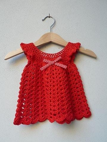 vestidos tejidos para niña recien nacida rojo