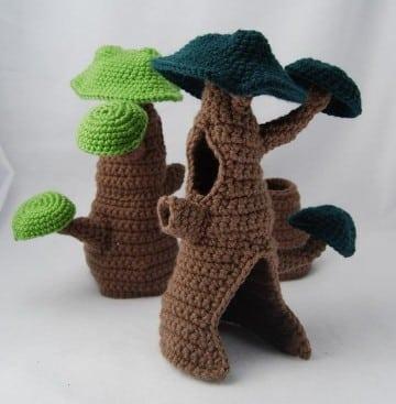 arboles tejidos al crochet de cuentos