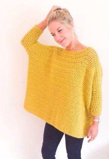 blusones tejidos a crochet en amarillo