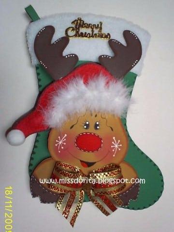 botas navideñas de foami sencillas