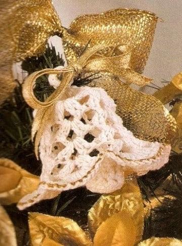 campanas tejidas a crochet para navidad