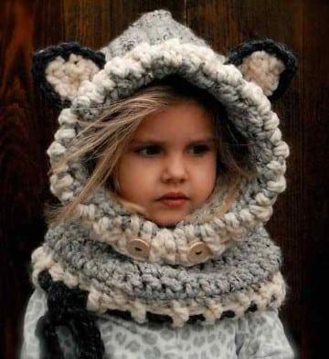 capucha tejida paso a paso para niños