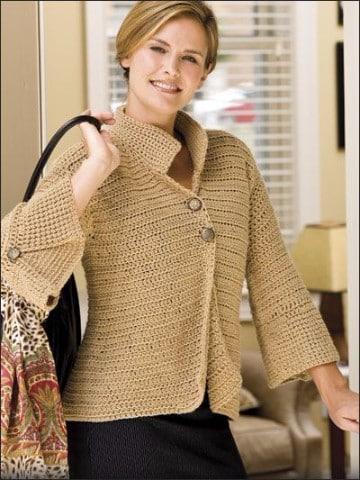 chaquetas tejidas a crochet unicolor