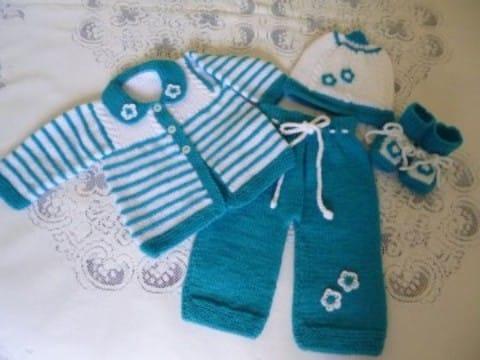 conjuntos tejidos para bebes recien nacidos en azul