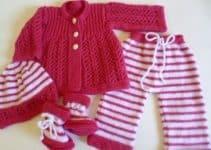 Unos completos conjuntos tejidos para bebes recien nacidos