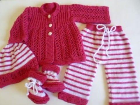 conjuntos tejidos para bebes recien nacidos en rosado