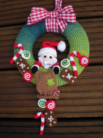 coronas navideñas a crochet para decorar