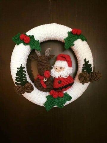 coronas navideñas a crochet para puerta