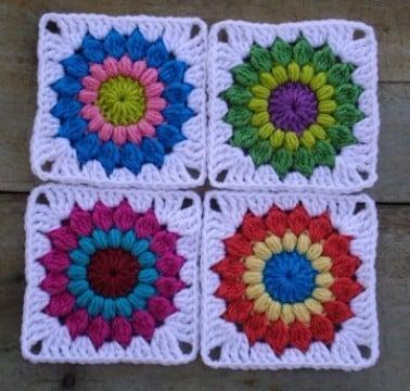 cuadros tejidos para colcha de colores