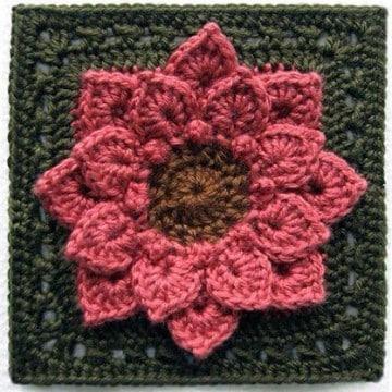 cuadros tejidos para colcha de flores