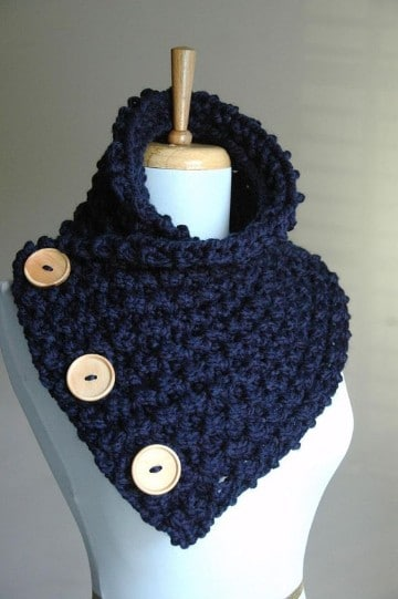 cuellos a crochet para mujer en azul